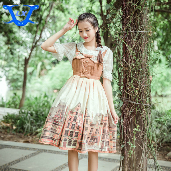 Cute Bow House Stampa Lolita Dress senza spalline Abito a vita alta marrone Lolita Dress Costume a tema 0840