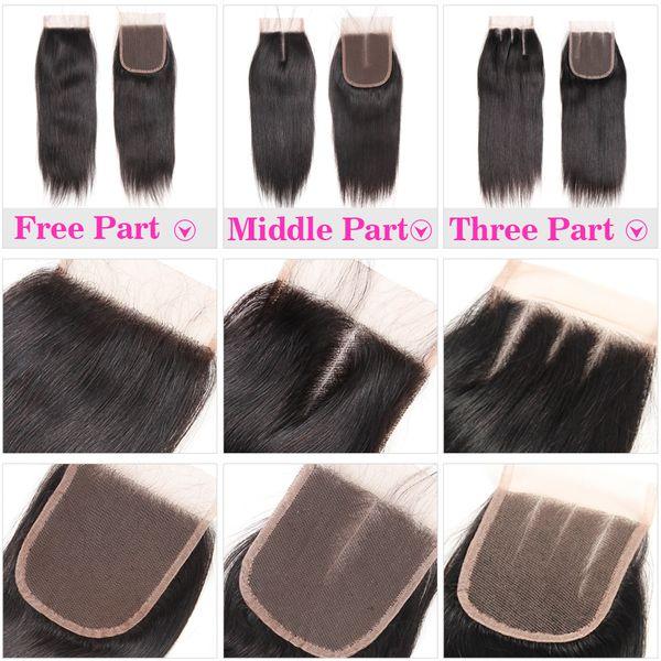 100% Cheveux Humains 4X4 Fermeture de Lacet avec Cheveux de Bébé Cheveux Raides Brésiliens Cheveux Raides Corps Vague Fermeture de Dentelle Libre Moyen Trois Partie Péruvien Malaisien