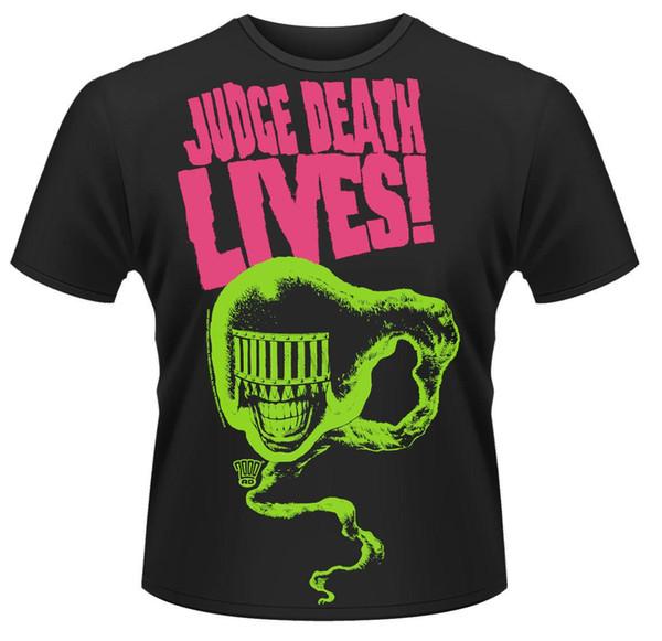 2000AD Judge Death 'Judge Death Lives!' T-Shirt - NOUVEAU OFFICIEL! Tee-shirt noir à manches courtes en coton imprimé hip-hop pour hommes