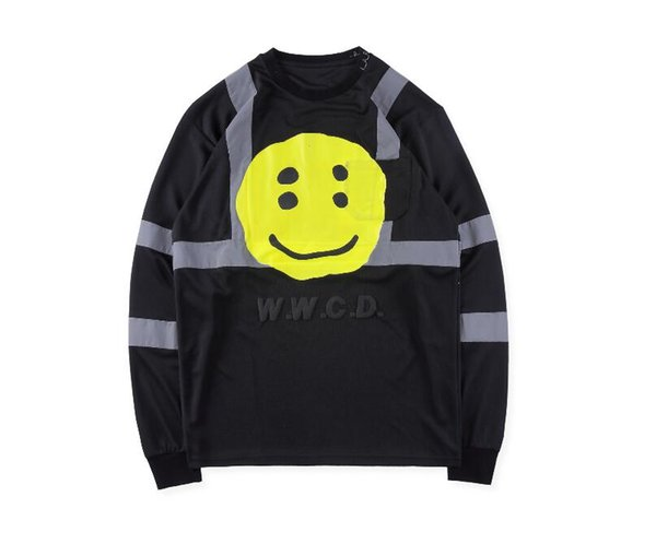 Kanye West ASAP Rocky 2019SS New Men Women CPFM W.W.C.D Reflective Stripes Foam Printing Crewneck Hoodie Sweatshirt Pullover