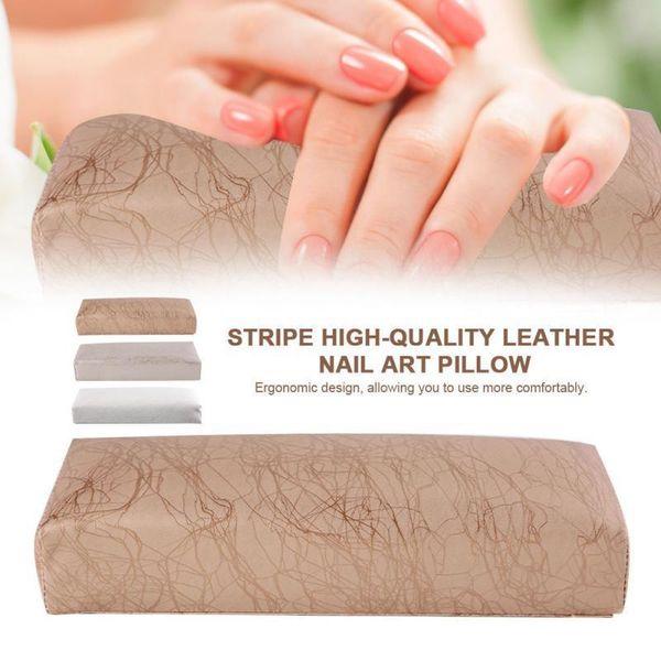 3 Colors Manicure Pillow Stripe Leather Hand Pillows Cushion Pillow Nail Arm Towel Rest Tool Armrest Nail Art Manicure T190624