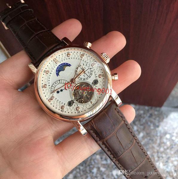 best selling 2020 Fashion 18ct Watch leather Tourbillon male Watch 2813 Automatic Men Wristwatch Men Mechanical steel Watches relogio masculino clock