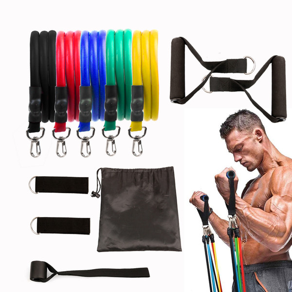 best selling Hot Sale 11pcs set Pull Rope Fitness Exercises Resistance Bands Latex Tubes Pedal Excerciser Body Training Workout Elastic Yoga Band