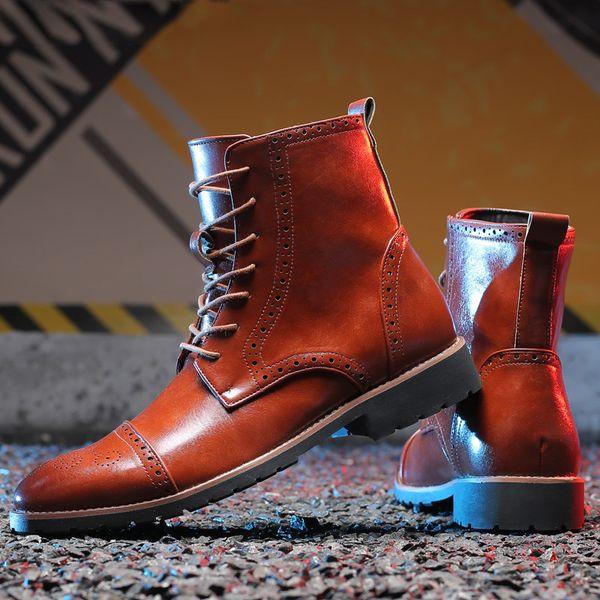 Yüksek kalite erkek elbise çizmeler deri motosiklet boots erkekler ayakkabı ayak bileği Batı çizmeler İtalyan adam ayakkabı