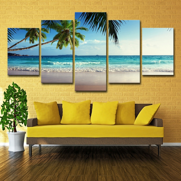 5PCS Sunset Beach Coconut Tree Seascape Poster Wall Art HD Print Canvas Painting Fashion Hanging Pictures
