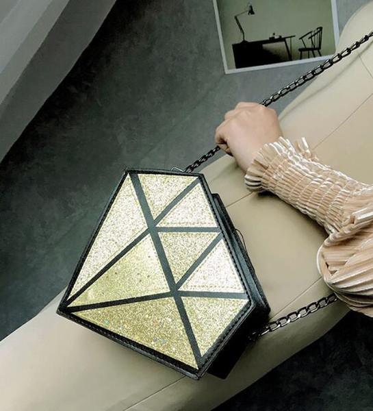 Nouveau Design Nouveau Lumineux Femmes Messenger Sac Diamant Géométrique Sacs À Bandoulière Sacs À Bandoulière Laser Pliant Sacs À Main Femelle Sac À Main Bao Sac Bolso 2019