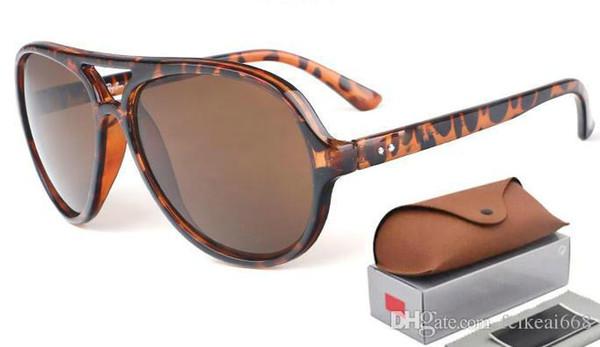 New Hot Alta Qualidade Dobradiça de Metal Óculos de Sol das mulheres dos homens Marca Designer UV400 lente de vidro Prancha de armação óculos de Sol Com caixa marrom e Caixa 4125