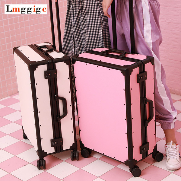 Vintage Aluminum frame+PC Suitcase Bag,high-quality Rolling Luggage, New Universal wheel Travel Box, Retro Trolley Case