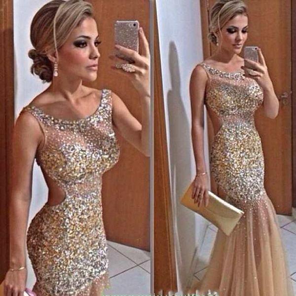 2019 New Bling Gold Mermaid Evening Dresses Sheer Neck Crystal Beaded Tulle Floor Length Backless Celebrity Dresses Sexy Prom Dresses