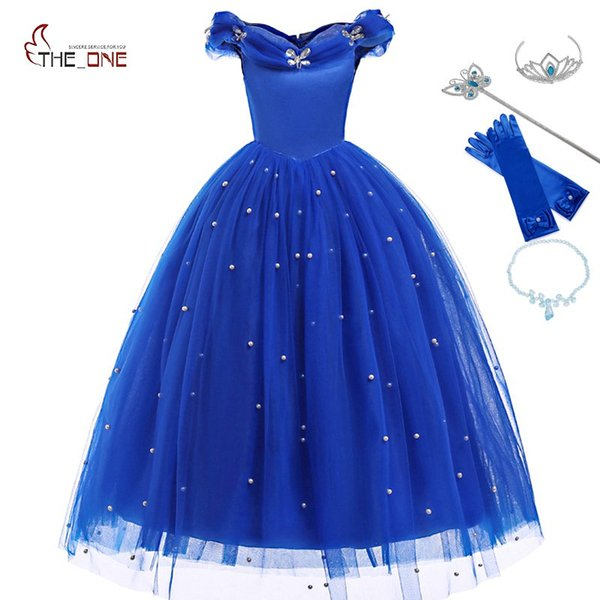 wholesale Princess Cinderella Dress up Clothes Girl Off Shoulder Pageant Ball Gown Kids Deluxe Fluffy Bead Halloween Party