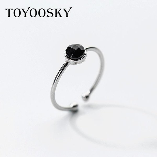 Open Adjustable Round Ring Geometric Black 925 Sterling Silver Lovely Finger Rings For Woman Girl Child Gifts