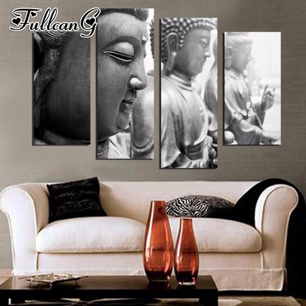 wholesale diy 4 piece diamond painting zen buddha icon full square/round drill 5d mosaic embroidery multi-picture arts FC707