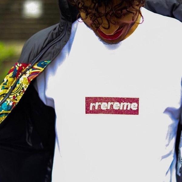 19SS 25th Yıldönümü Swarovski-Box L0go Tee Sokak Hatıra Mens Tasarımcı T Shirt Bayan Yuvarlak Yaka Siyah Beyaz Kırmızı Şort HFSSTX234