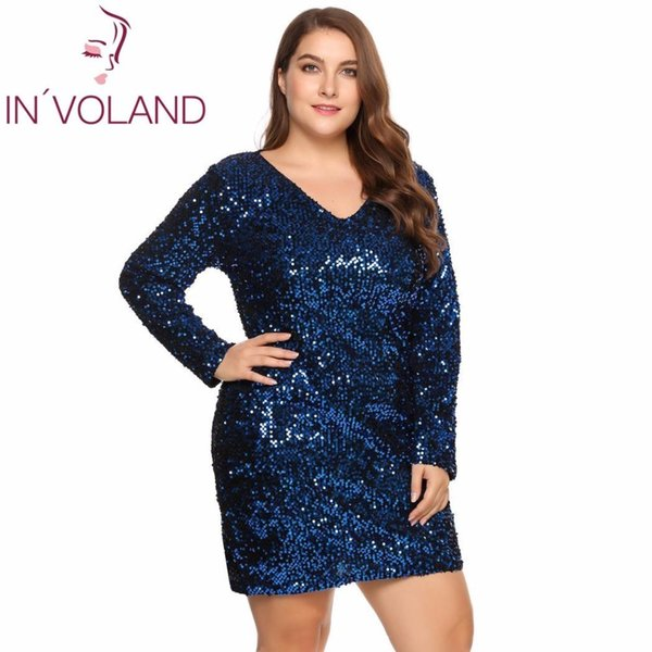 In'voland Large Size Xs-5xl Women Party Dress Sexy Sequined Bodycon Cocktail Club Sheath Loose Big Ladies Dresses Plus Oversized Q190409