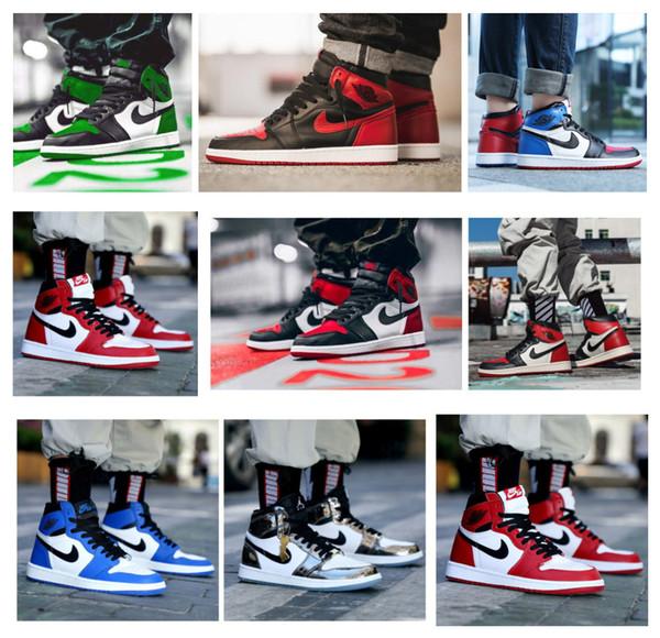 best selling Cair 1 JORDAN 1 High OG Bred Toe Chicago Scotts X Banned Game Royal Basketball Shoesa AJ Men 1s Top 3 Shattered Backboard Shadow Multicolor