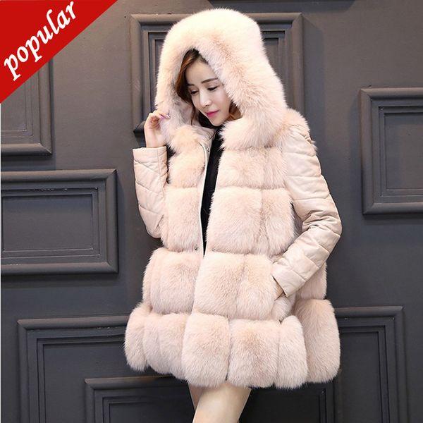 Winter Frauen Mode Cape Faux Fuchspelz Mäntel Mit Kapuze Abnehmbare Pu-hülse Pelz Jacken Patchwork Kunstpelz