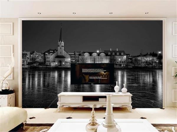 Wassergebäude Europa und Amerika Schwarzweiss-Rückseiten-Digitaldruck HD dekorative schöne Tapete 3d