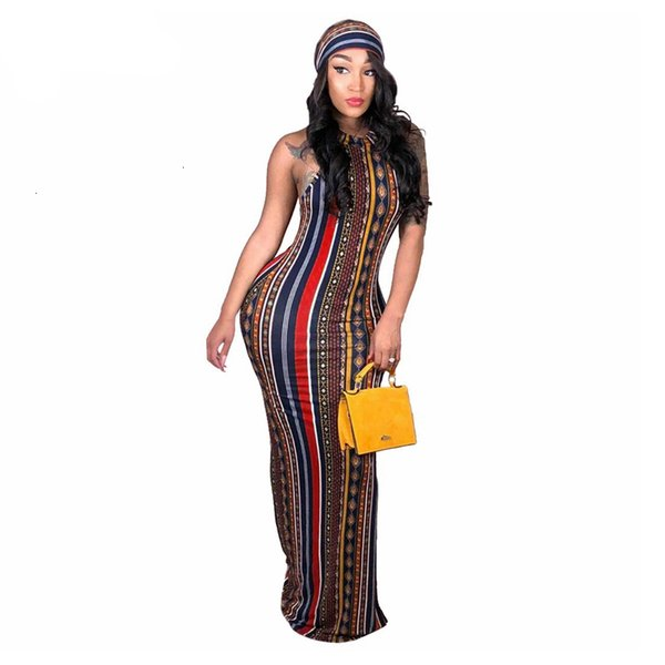 Sin mangas de las mujeres Mujeres Ropa Mujer Vestidos rayado de la vendimia de Bohemia Impreso vestido más el tamaño de vestido casual vocación Maxi vestido con la pista