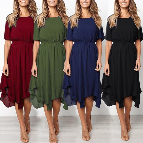 Summer Dresses Solid PURE Color Loose O Neck Natural Waist Vintage Fashion Women Dress HOT SALE