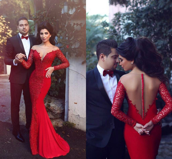 Elegant Mermaid Formal Evening Gowns Long Sleeves Sexy See Though Back Special Occasion Party Prom Dress Red Lace Arabic Dresses From China