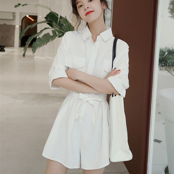 Women Short Sleeve Summer Jumpsuits 2019 New Casual Playsuits Solid Purple White Wide Leg Shorts Overalls