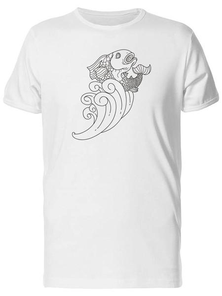 Fish In Waves Outline Herren-T-Shirt - Bild von Fashion