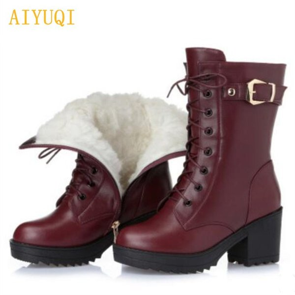 2019 AIYUQI 2018 new genuine leather women's winter boots. thick warm wool rubber ski boots, warming red black lady snow boots navy