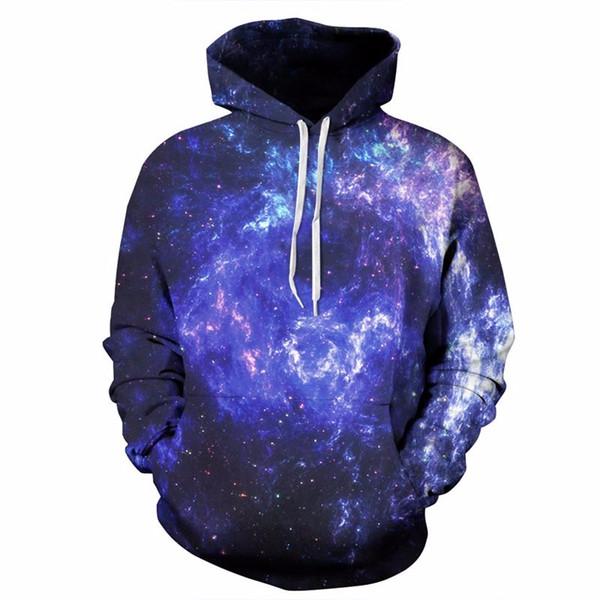 Headbook Space Galaxy Hoodies Männer / Frauen 3d Sweatshirts Mit Hut Drucken Blue Nebula Herbst Winter Dünne Hoody Tops QL5011