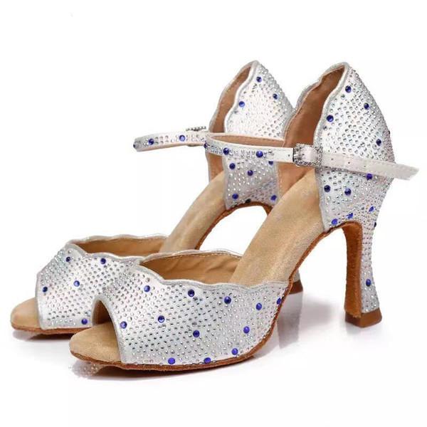 Dans partileri Yapay elmas Latin ayakkabı, kadın Salas ayakkabıları, inci topuklu Waltz yazılım ayakkabı, ipek saten matkap satıyoruz