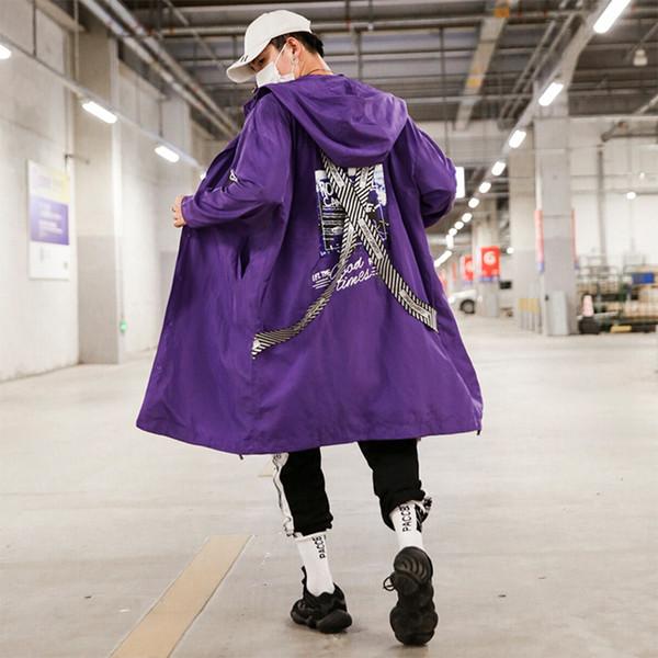 Windjacke Reißverschluss Trenchcoat Männer Lange Lila Kapuzenjacke Mantel Mann Hip Hop Streetwear Herren Vintage Mantel Nachtclub Bühne