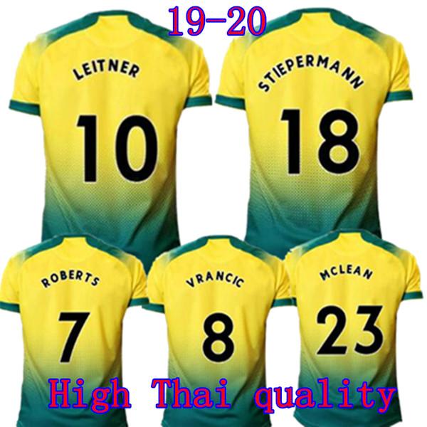 Maillots de football de Norwich City domicile 2019 2020 LEWIS LEITNER PUKKI BUENDIA Maillot de football HERNANDEZ MCLEAN VRANCIC STIEPERMANN ROBERTS Uniforme