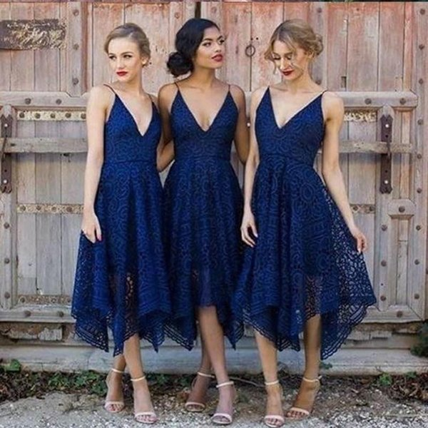 Designs Short Navy Blue Country Bridesmaid Dresses Tea Length Full Lace Spaghetti asymmetric Wedding Guest Dress Cheap Junior Maid of Honor