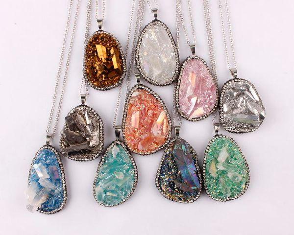 Pave Crystals Border Solar Quartz Pendant Necklace Raw Original Quartz Necklace Crystal Necklace Real Gemstones Pendant