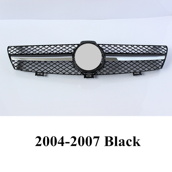 top popular 1 piece ABS Front Kidney Grilles For BEN-Z CLK CLASS W219 Replacement Black  Silver Bumper Car Grille 2021