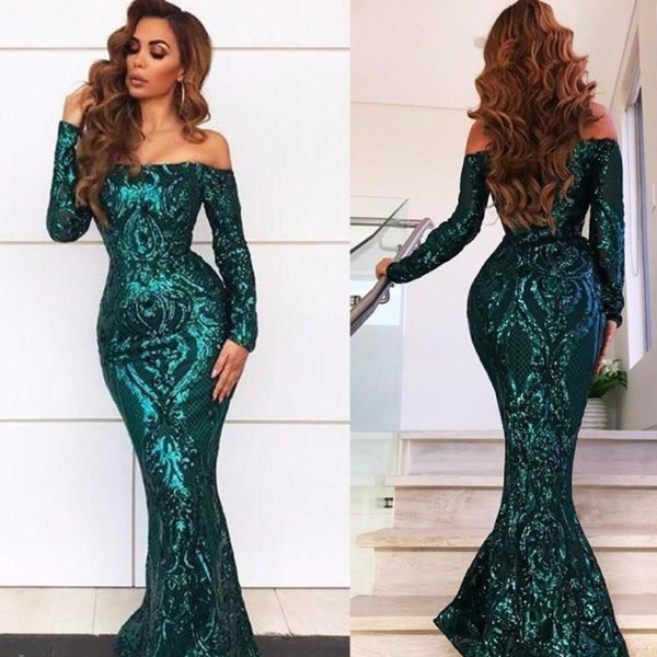New Arabic Style Dark Green Sequined Evening Dresses Lace Mermaid Prom Dresses Sexy Shoulder Long Girls Pageant Gowns