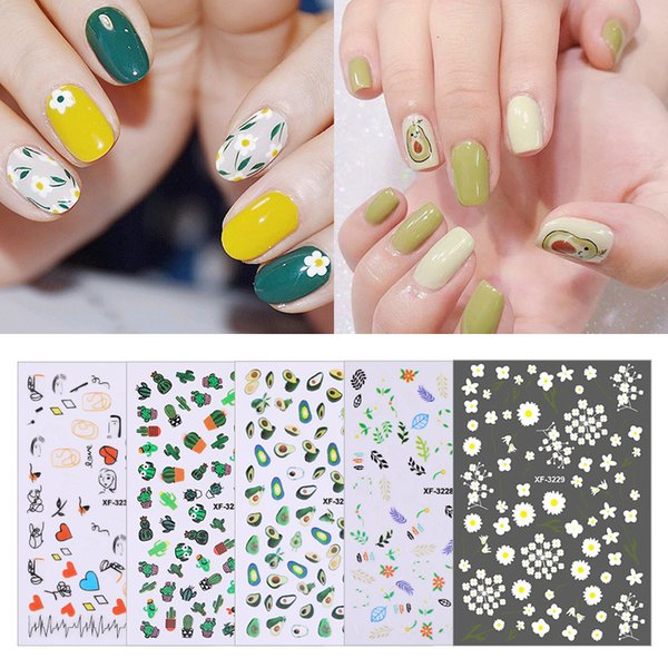 Bittb Flower Nail Sticker Leaf Cute Water Transfer 3D Summer Nail Art Stickers Decal DIY Design Decoration For Girls and Kids