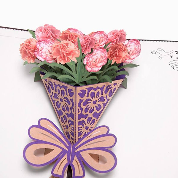 Mom Happy Birthday Invitation Customized Gifts Wedding Cards Mothers Day Greeting Postcard 3D Folding Carnation