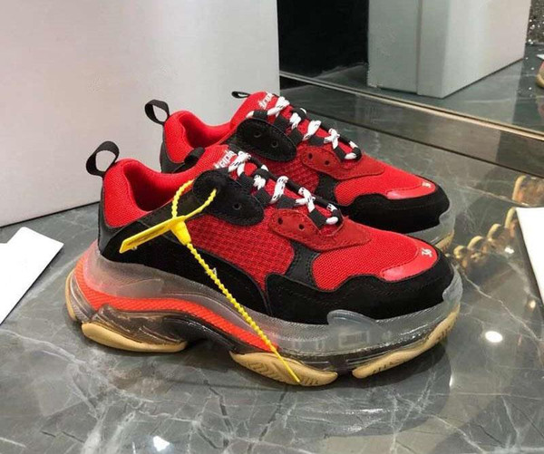 Париж 2019 Кристалла Bottom Triple-S Досуг Обувь люкс папа обуви Платформа Тройная тапок Мужчины Женщина Vintage Kanye Дедушка тренер A01