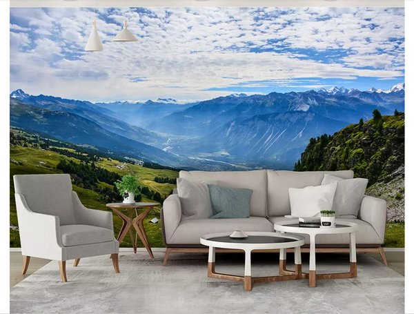 Custom 3d photo murals wall paper home decor Nordic deep mountain canyon green beautiful forest village background wall papel de parede