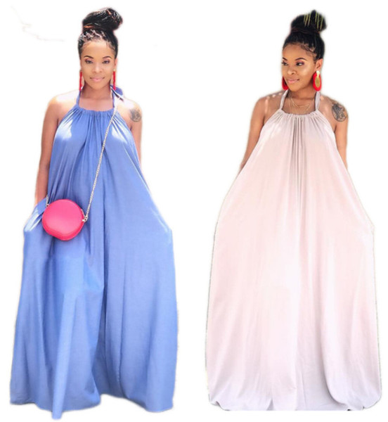 Women dresses maxi dresses fashion Low bosom halter pocket pencil dresses sleeveless backless floor-length solid color summer clothing 466