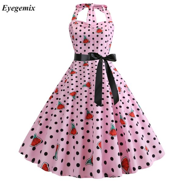 eb37860d0f95d Summer Dress Women Halter Sexy Party Night Dress Polka Dot Robe Retro  Vintage Rockabilly Pin Up