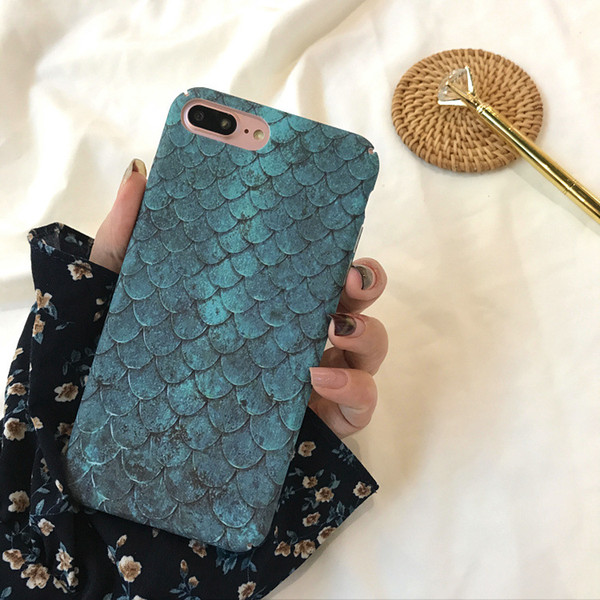 Ultra thin Fish scale Frosted Crashproof Hard Back Cover PC Cell Phone Case Protective Covers For iPhone X XS 6 6S 7 8 PLUS