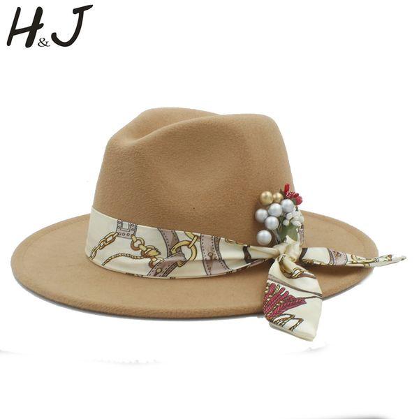 100% Wool Women Felt Fedora Hat With Flower Cloche Ribbon For Elegant Lady Winter Autumn Wide Brim Jazz Caps
