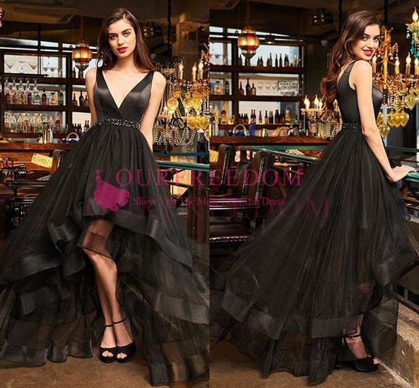 2019 Black V Neck Evening Dresses High Low Beaded Crystal Ruffles Tiered Skirts Zipper Back Formal Occasion Prom Party Dresses Custom Made