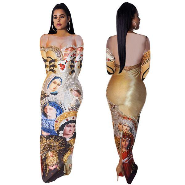 Character Print Maxi Party Dress Women Multi Queens Pattern Zipper Split Hem O Neck Long Sleeve Ankle Length Long Prom Dress