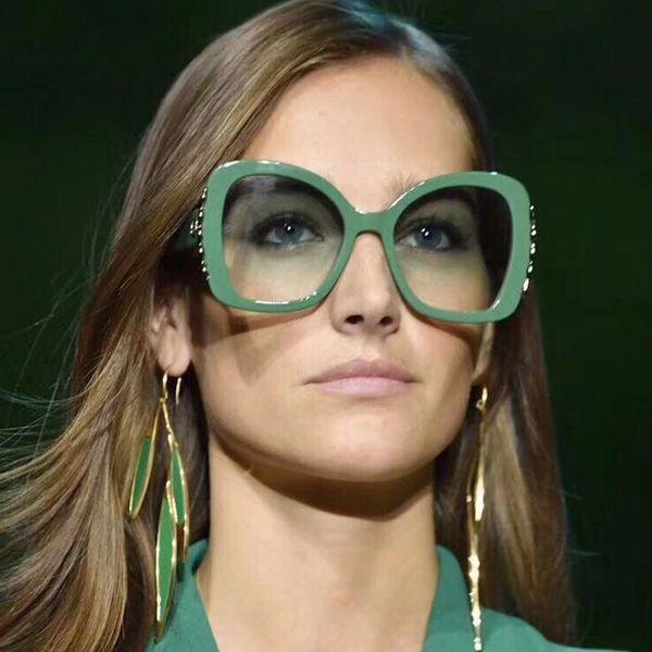 Gafas de sol de gran tamaño Vazrobe Mujeres Vintage Gafas de Sol para Mujer Lujo Kim Kardashian 80s Naranja Rojo Verde Retro Tortuga Blanca