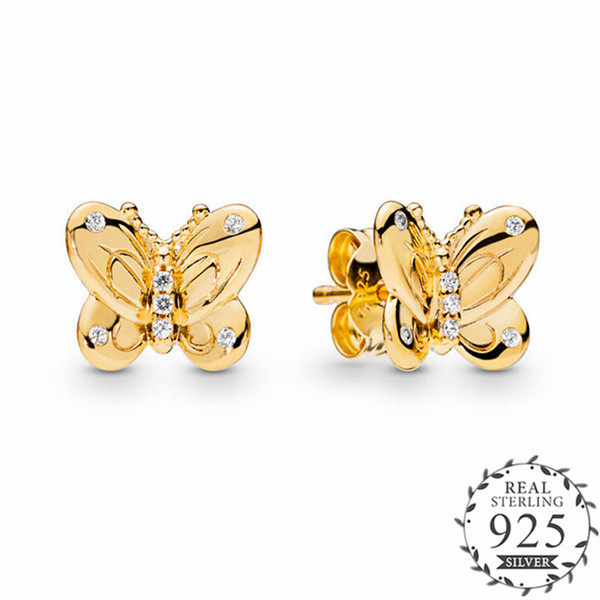 Decorative Butterflies Earring Stud With CZ 100% 925 Sterling Silver Earrings Party Jewelry For Women 2019 Spring Shine Golden