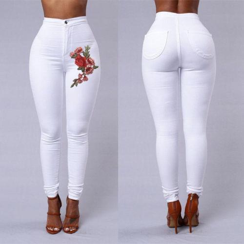 fashion women high waist emboridered skinny stretch pencil long slim casual leggings - from $15.80