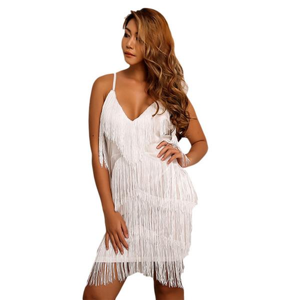 Solid Tassel Sexy Womens Night Club Bodycon Dress Summer Ladies Spaghetti Strap Party Dresses Female Clothing