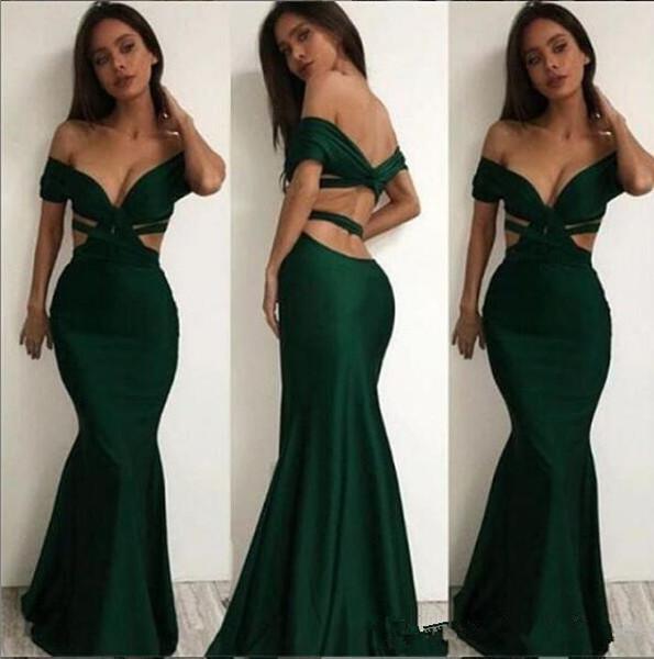 Sexy Dark Green Cheap Simple Long Mermaid Prom Dresses Off Shoulder Short Sleeves Backless Vestidos De Soiree Evening ogstuff Robe De Mariee